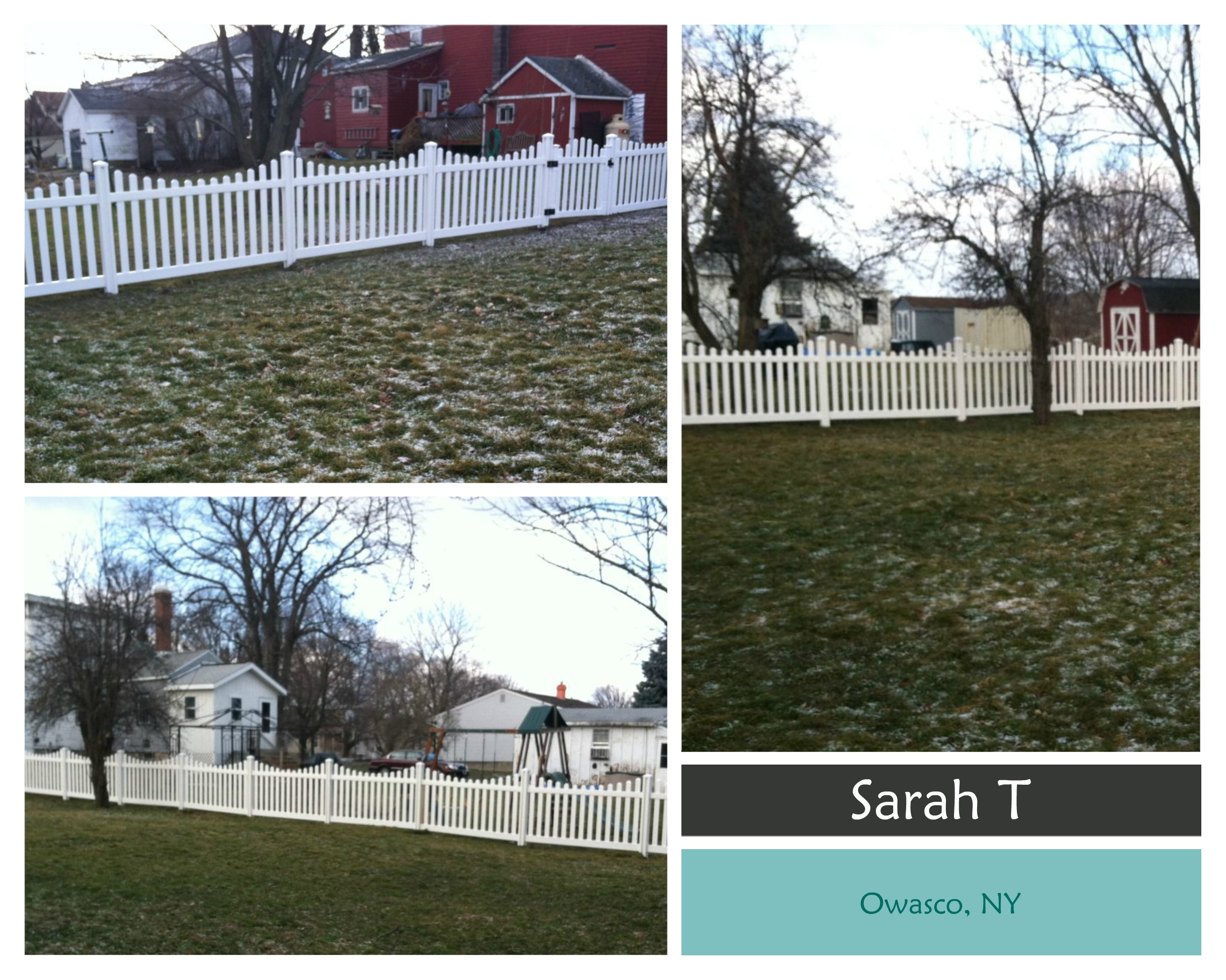 Sarah T in Owasco NY takes home second prize of $250 with 144 votes for her Jiminy Picket Vinyl Fence.
