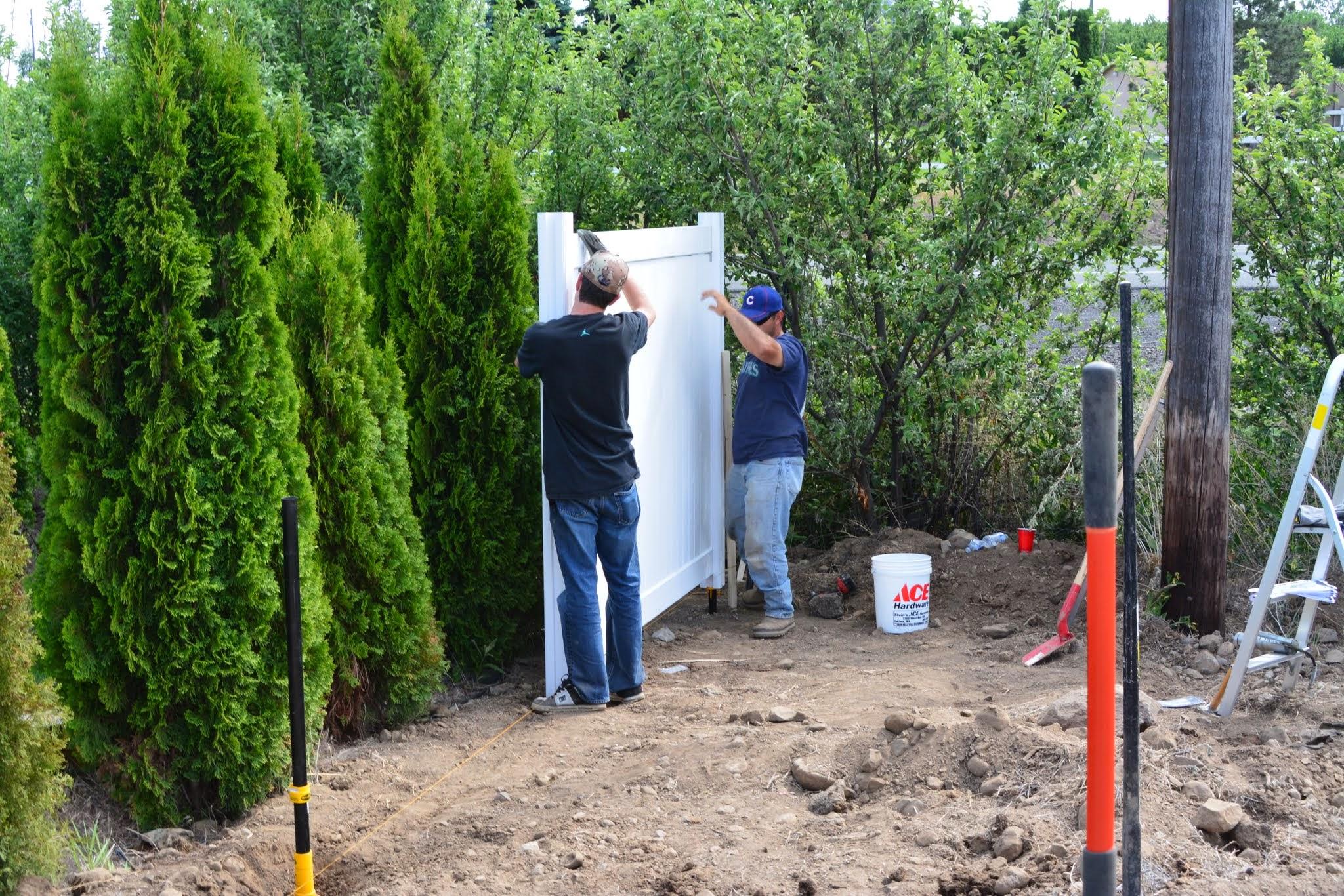Installing the vinyl fence panels