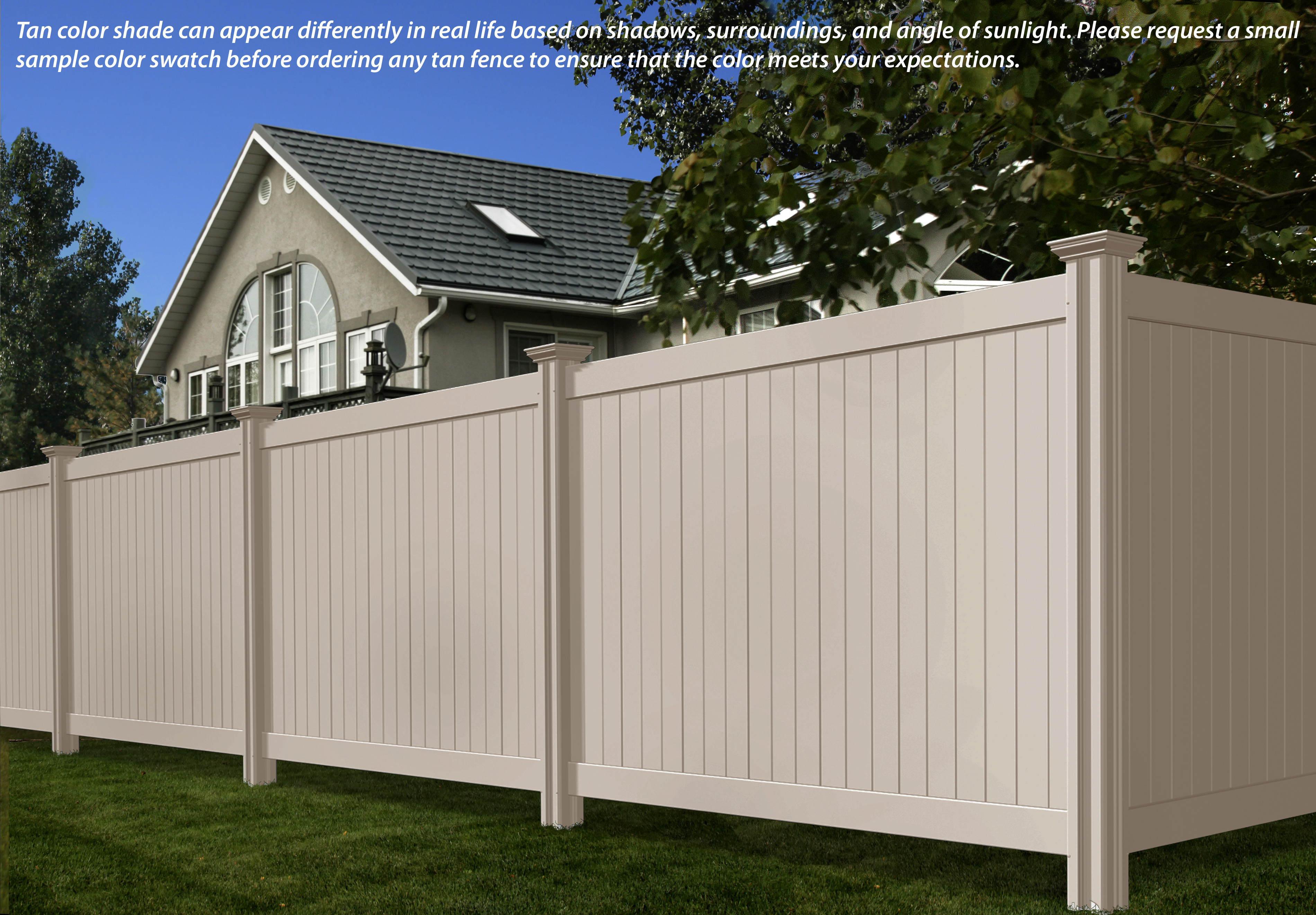 We offer a tan privacy vinyl fence