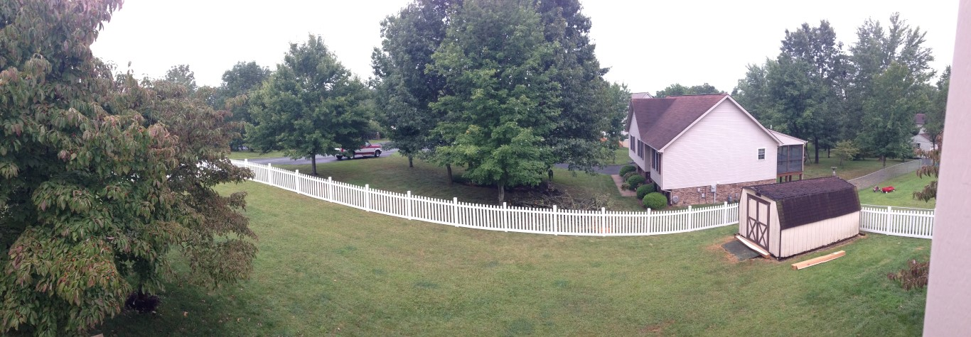 Wide shot of the vinyl picket fence