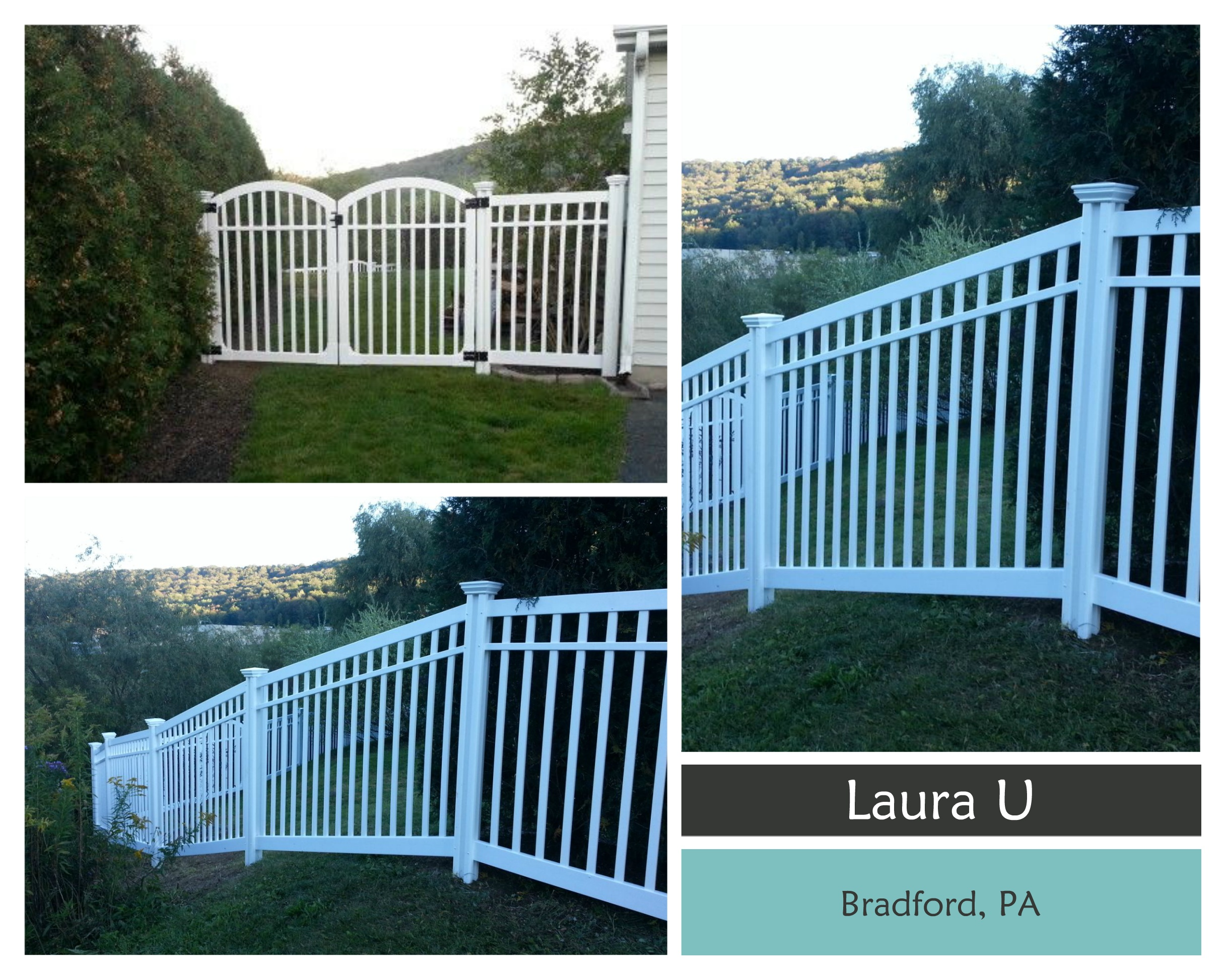 Laura U in Bradford PA takes the first place $500 cash prize with the Nervous Nelly Vinyl Fence and 197 votes!