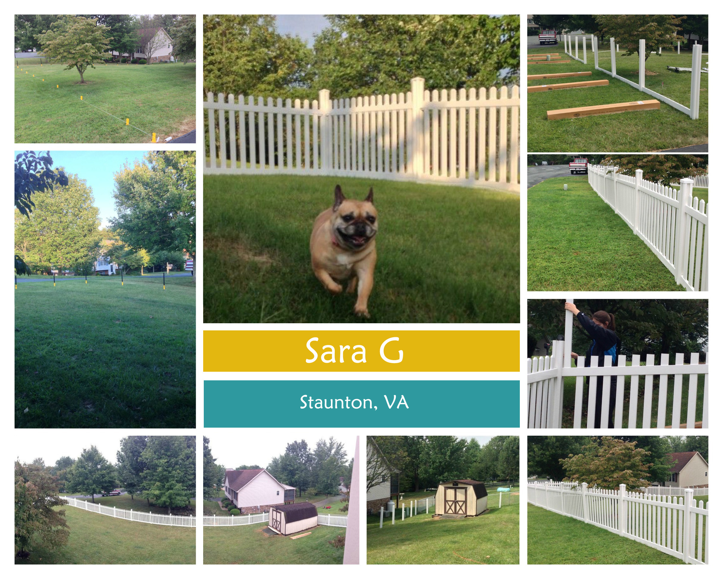 Sara G in Staunton VA takes home $100 third prize with 59 votes for her Jiminy Picket Vinyl Fence.