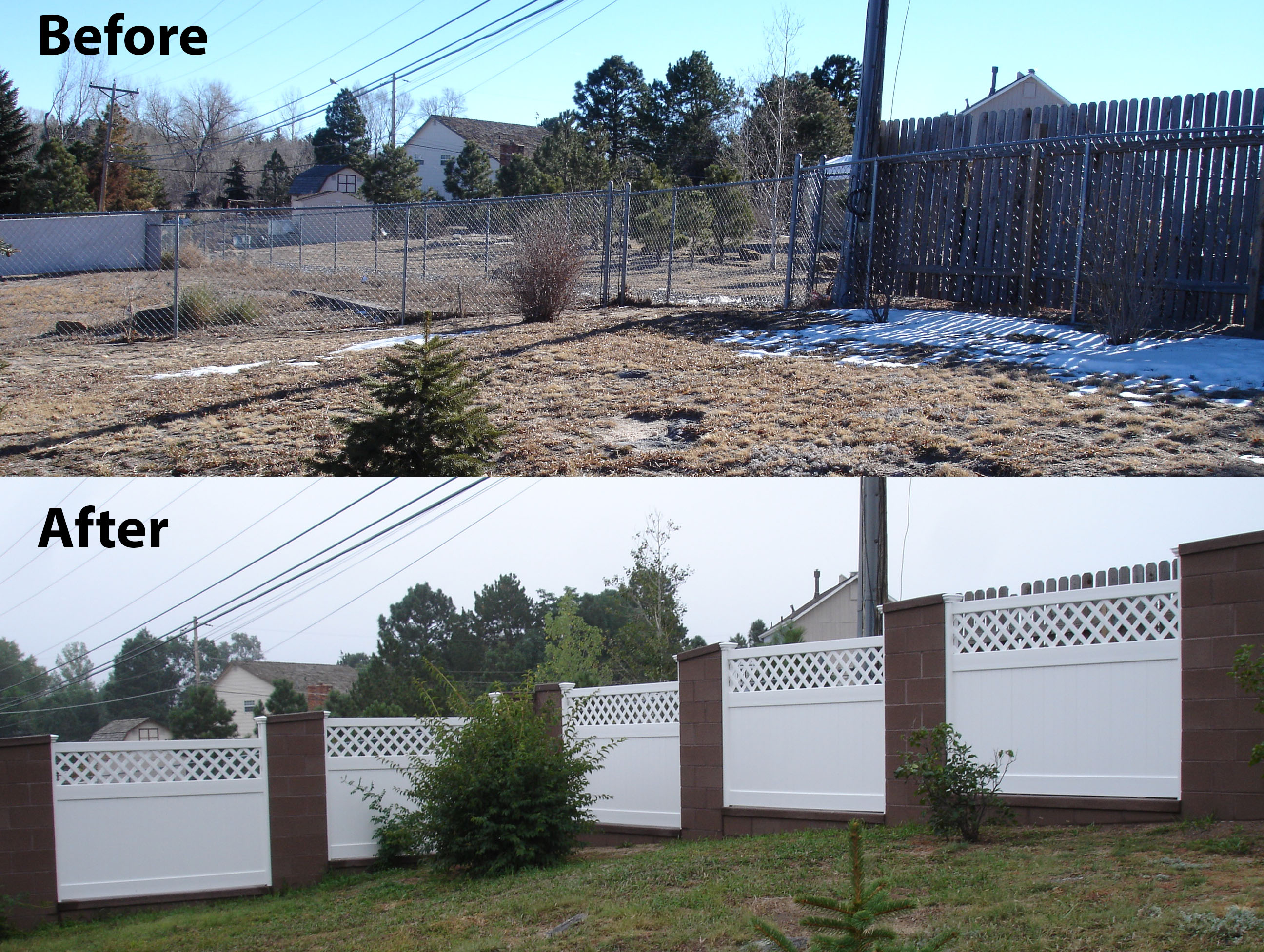 Jim in Colorado created a striking difference in his yard with the vinyl lattice top privacy fence beautifully positioned between brick pillars.