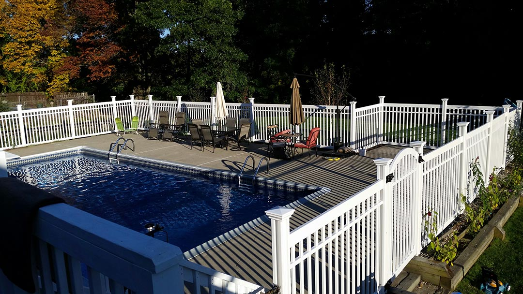The Nervous Nelly Pool Fence Looks Great with the Fall Foliage