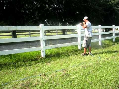 A pressure washer can be useful for cleaning a very dirty vinyl fence that has been neglected for some time.