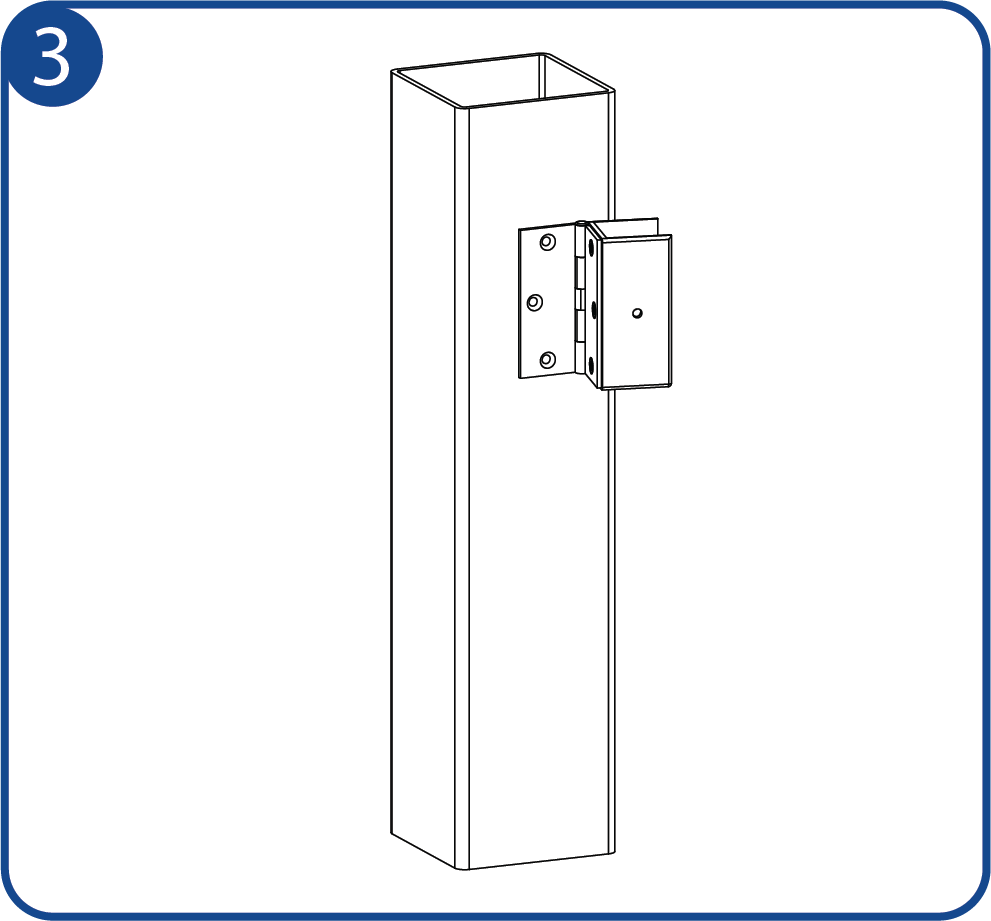 Identify the location of the hinge on the post.