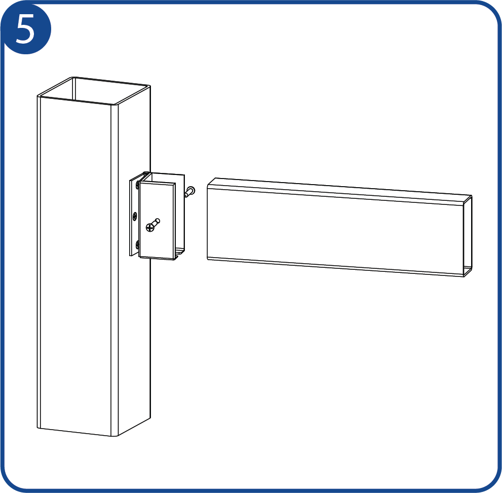 Attach and fasten your fence rail to the hinged-bracket as shown and proceed to do the same of the other end of the rail.